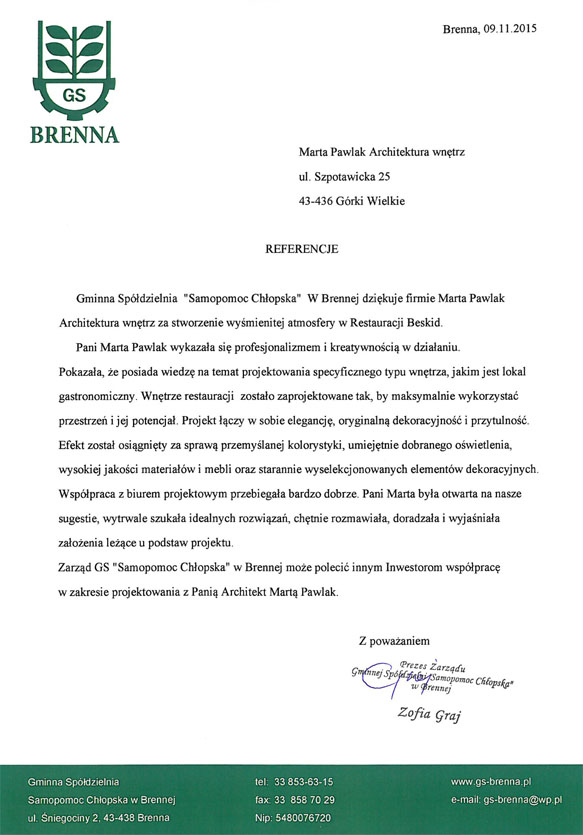 Referencje GS Brenna